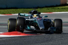 Mercedes-AMG driver Lewis Hamilton in Montmelo, Barcelona, Spain.