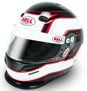 racing helmet that is white with black and red details with Bell logo
