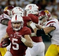 Stanford running back Christian McCaffrey (5) runs against Southern California during the second half of an NCAA college football game Saturday, Sept. 17, 2016, in Stanford, Calif. (AP Photo/Marcio Jose Sanchez)